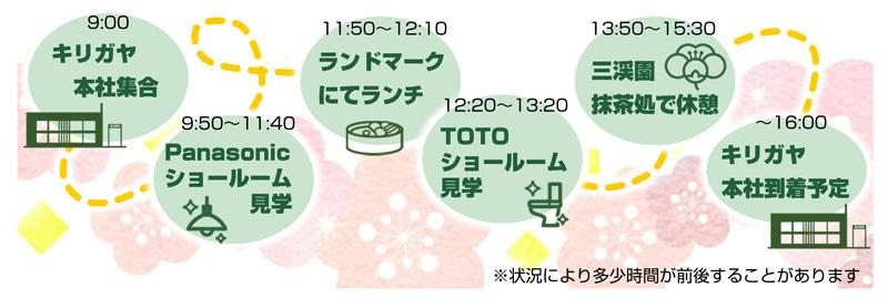 9:00集合→9:50Panasonic→11:50昼食→12:20TOTO→13:50三渓園→16:00解散